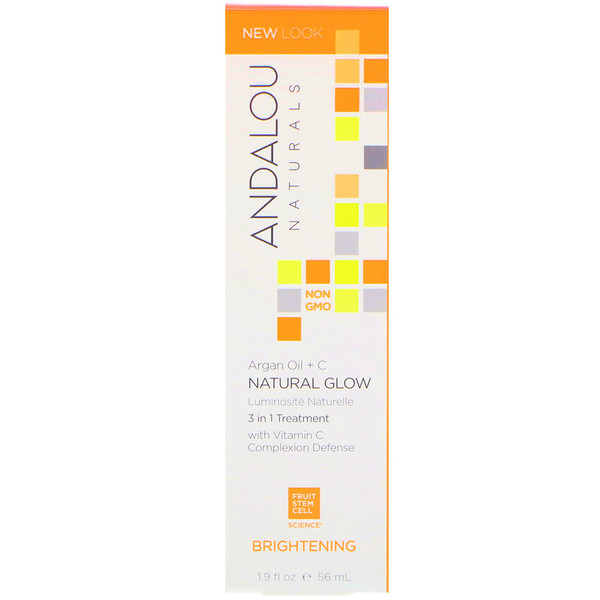 Andalou Naturals, Natural Glow, 3 in 1 Treatment, Argan Oil + C, Brightening, 1.9 fl oz (56 ml)