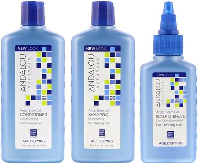 Купить Andalou Naturals Стволовые клетки аргании, система для редеющих волос, антивозрастная, набор из 3 предметов