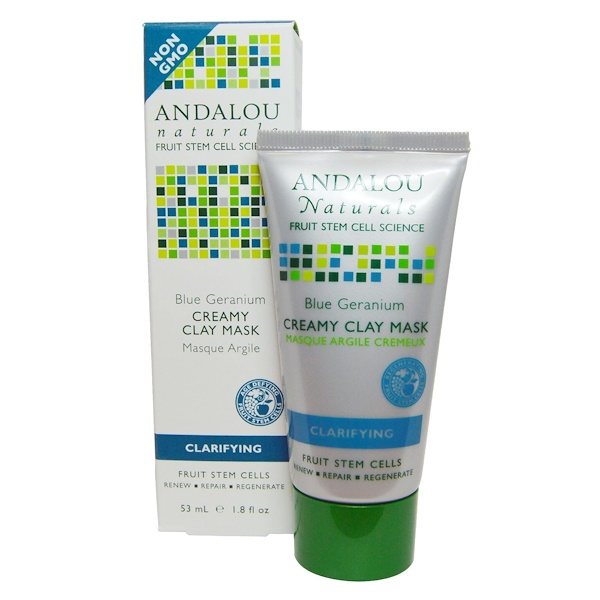 Andalou Naturals, Creamy Clay Mask, Blue Germanium, Clarifying, 1.8 fl oz (53 ml) (Discontinued Item)