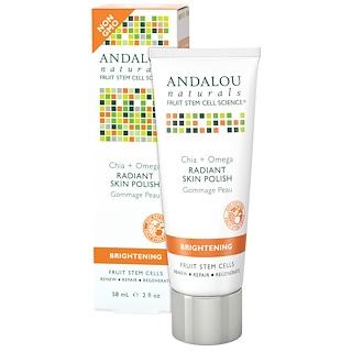 Andalou Naturals, ラディアント・スキンポリッシュ、チア+オメガ、ブライトニング、2 液体オンス(58 ml)
