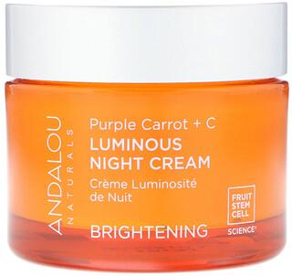 Andalou Naturals, Luminous Night Cream, Purple Carrot + C, Brightening, 1.7 fl oz (50 ml)