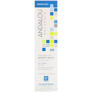 Andalou Naturals, Bálsamo beneficioso con células madre de argán, FPS 30 sin tinte, piel clara, 2 fl. Oz (58 ml)