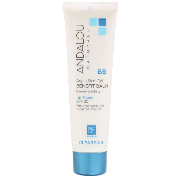 Andalou Naturals, BB Argan Stem Cell Benefit Balm, Clear Skin, SPF 30, Un-Tinted, 2 fl oz (58 ml)