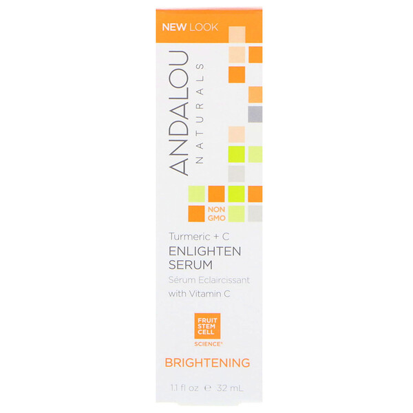 Andalou Naturals, Enlighten Serum, Cúrcuma + C, Luminoso, 1.1 fl oz (32 ml)
