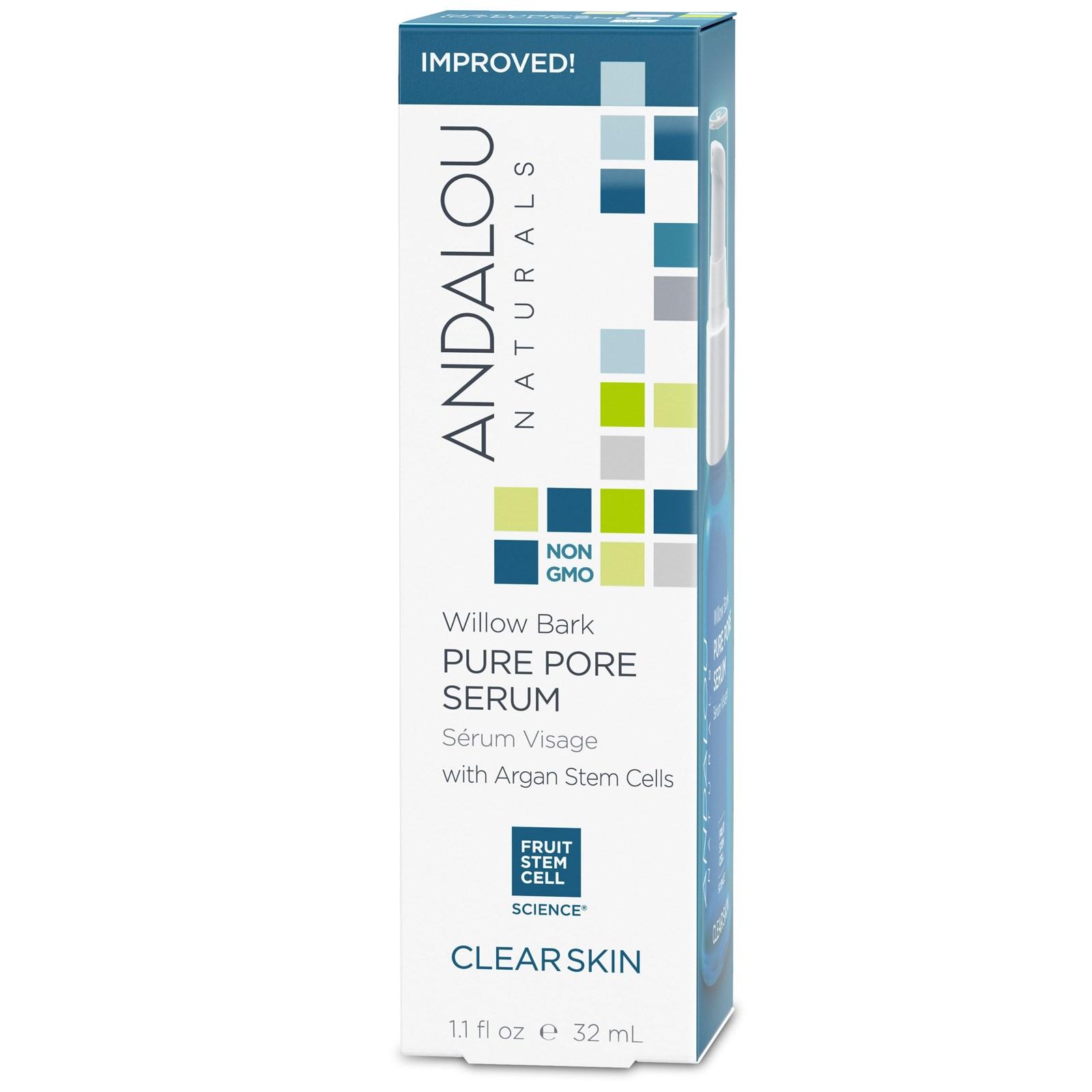 Andalou Naturals, Сыворотка для очистки пор, чистая кожа, ивовая кора, 1,1 жидких унций (32 мл)