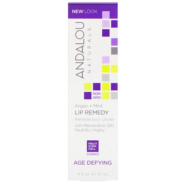 Andalou Naturals, Lip Remedy, Age Defying, Argan + Mint, .4 fl oz (12 ml)