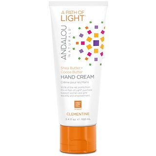 Andalou Naturals, A Path of Light, Shea Butter + Cocoa Butter Hand Cream, Clementine, 3.4 fl oz (100 ml)