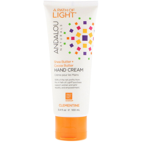 A Path of Light, Shea Butter + Cocoa Butter Hand Cream, Clementine, 3.4 fl oz (100 ml)