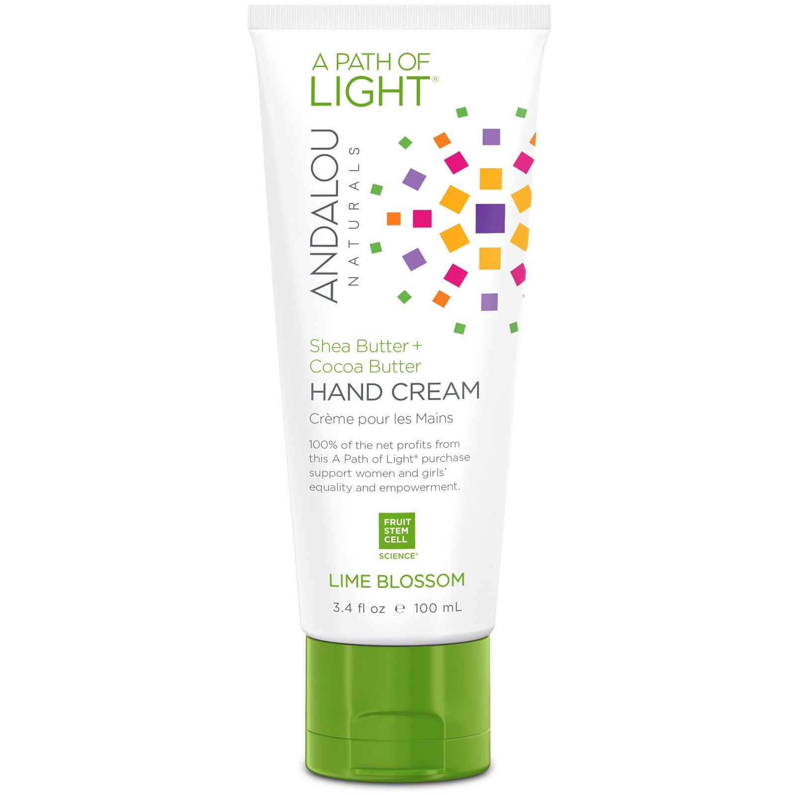 Andalou Naturals, A Path of Light, Shea Butter + Cocoa Butter Hand Cream, Lime Blossom, 3.4 fl oz (100 ml)