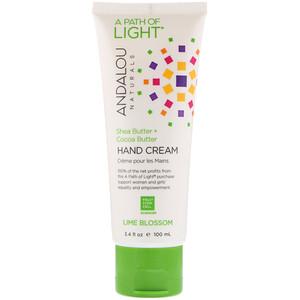 Андалу Натуралс, A Path of Light, Shea Butter + Cocoa Butter Hand Cream, Lime Blossom, 3.4 fl oz (100 ml) отзывы покупателей