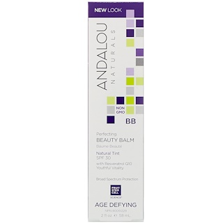 Andalou Naturals, BB Skin Perfecting Beauty Balm(お肌を仕上げる香油), SPF30で薄い色合い, 年齢に挑戦, 2液量オンス(58 ml)