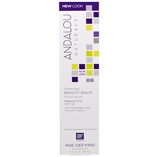 Andalou Naturals, BB Perfecting Beauty Balm, Natural Tint, SPF 30, Age Defying, 2 fl oz (58 ml)