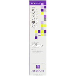 Andalou Naturals, Facial Serum, SPF 30, Age Defying, Unscented, 2 fl oz (58 ml)