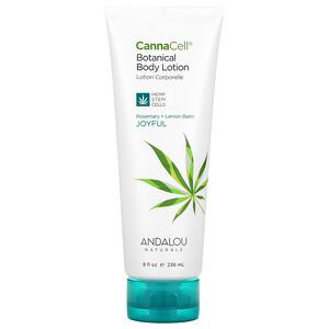 Andalou Naturals, CannaCell, Botanical Body Lotion, Joyful, Rosemary + Lemon Balm, 8 fl oz (236 ml)