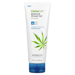 Andalou Naturals, CannaCell, Botanical Shower Gel, Chamomile + Myrtle Leaf, 8 fl oz (236 ml)