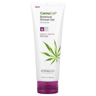 Andalou Naturals, CannaCell, Botanical Shower Gel, Patchouli + Basil Mint, 8 fl oz (236 ml)