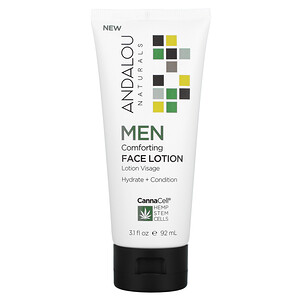 Andalou Naturals, CannaCell, Men, Comforting Face Lotion, 3.1 fl oz (92 ml)