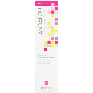 Andalou Naturals, 1000 Roses Cleansing Foam, Sensitive, 5.5 fl oz (163 ml)