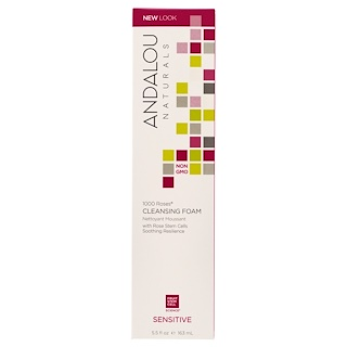 Andalou Naturals, Cleansing Foam, 1000 Roses, Sensitive, 5.5 fl oz (163 ml)