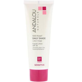 Andalou Naturals, Facial Lotion, 1000 Roses, Daily Shade, SPF 18, Sensitive, 2.7 fl oz (80 ml)