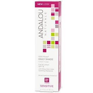 Andalou Naturals, 1000 Roses, Daily Shade, Facial Lotion SPF 18, Sensitive, 2.7 fl oz (80 ml)
