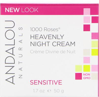 Божественный ночной крем для чувствительной кожи, 1000 роз, 1.7 жидких унций (50 мл) дневной крем для чувствительной кожи 1000 роз 1 7 унций 50 мл
