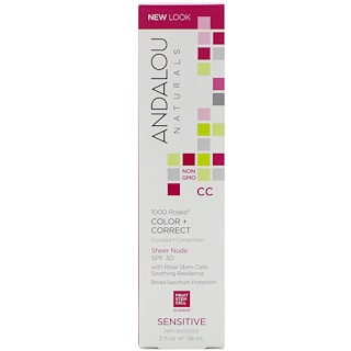 Andalou Naturals, CC 1000 Roses, Color + Correct, Sheer Nude SPF 30, Sensitive, 2 fl oz (58 ml)