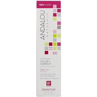 Andalou Naturals, CC 1000 Roses Color + Correct、シアータン、SPF 30、敏感肌、2 fl oz (58 ml)