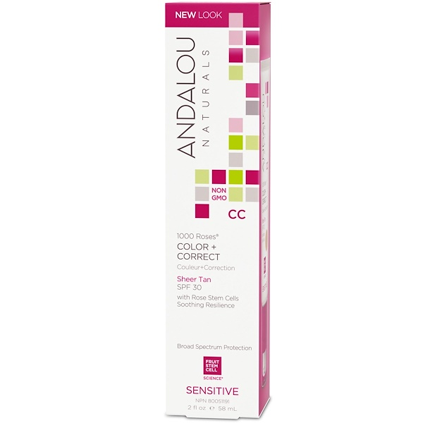 Andalou Naturals, CC 1000 Roses Color + Correct, Sheer Tan with SPF 30, Sensitive, 2 fl oz (58 ml)