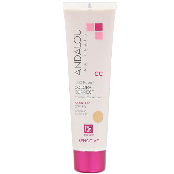 Andalou Naturals, CC 1000 Roses Color + Correct, Sensitive, Sheer Tan, SPF 30, 2 fl oz (58 ml)