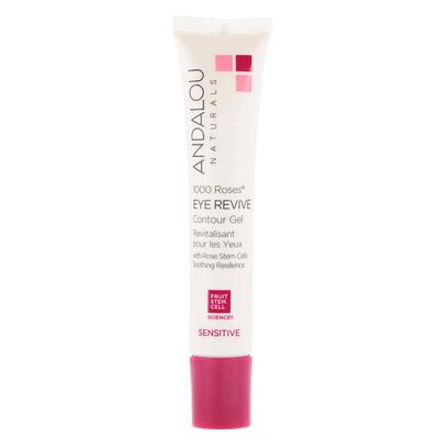 Купить Andalou Naturals Восстанавливающий контурный гель для чувствительной кожи вокруг глаз, 1000 роз, 6 жидких унций (18 мл)