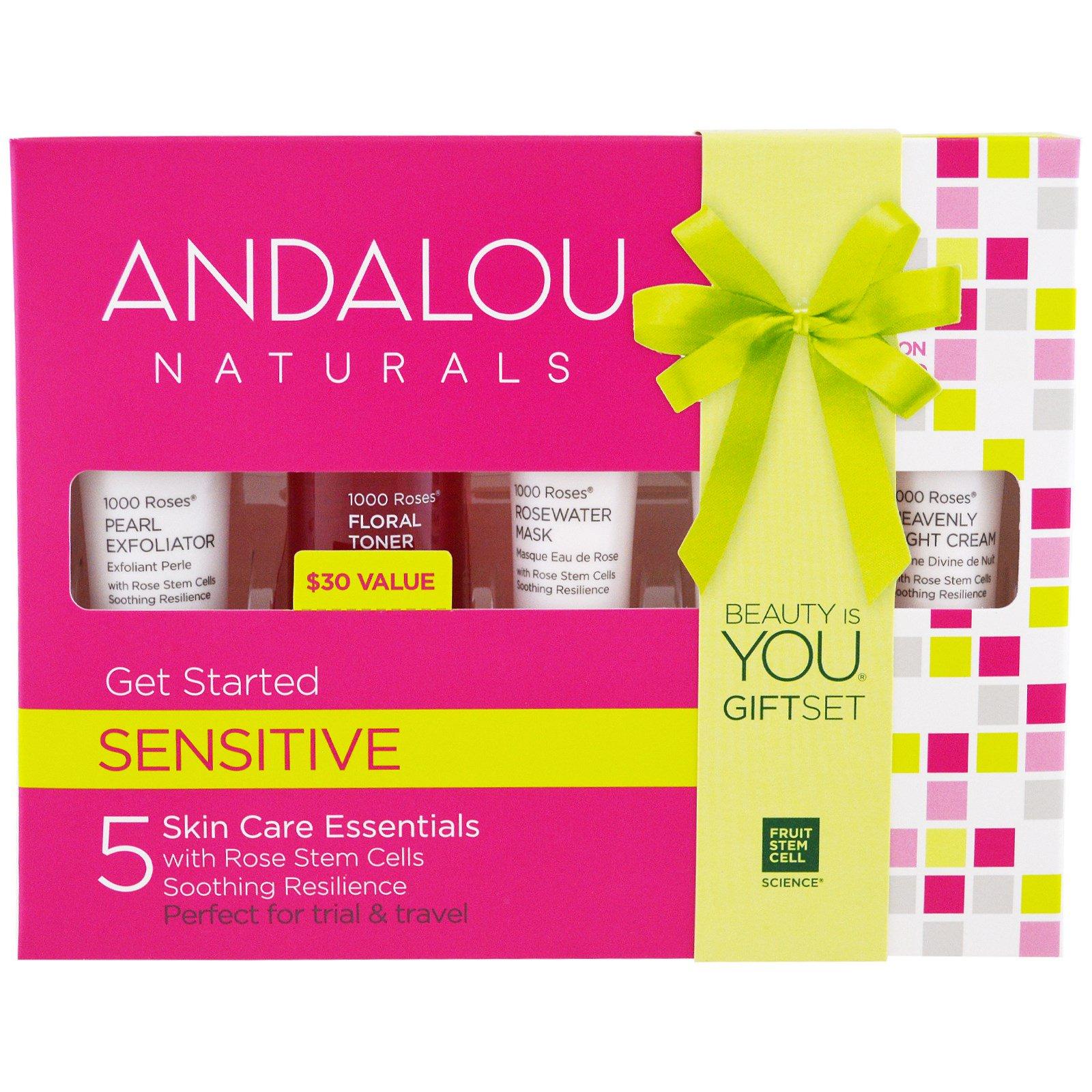 Andalou Naturals, Набор Get Started, 1000 роз, для чувствительной кожи, набор из 5 составляющих