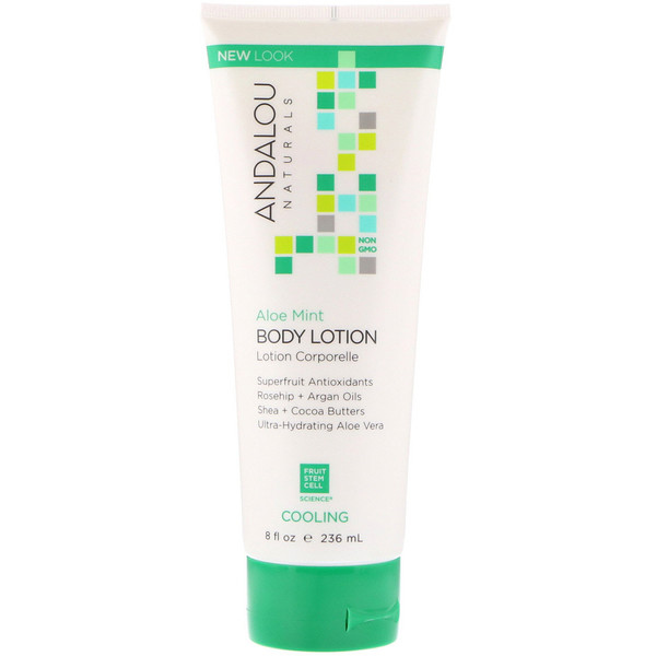 Andalou Naturals, Body Lotion, Cooling, Aloe Mint, 8 fl oz (236 ml) (Discontinued Item)