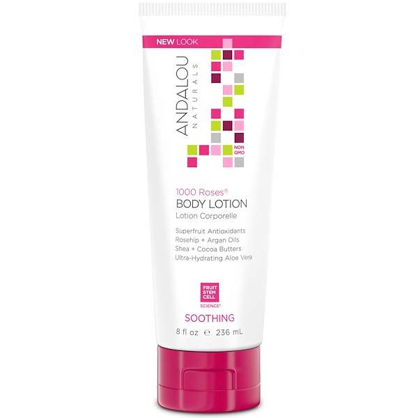 Andalou Naturals, Body Lotion, Soothing, 1000 Roses, 8 fl oz (236 ml)