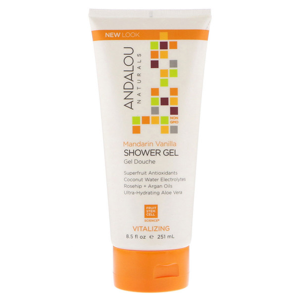Andalou Naturals, Shower Gel, Mandarin Vanilla, Vitalizing, 8.5 fl oz (251 ml) (Discontinued Item)