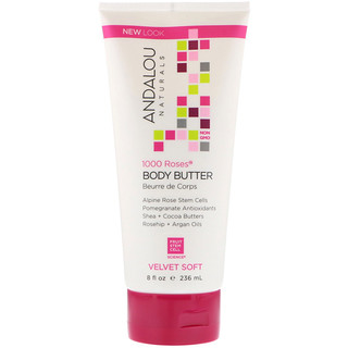 Andalou Naturals, Body Butter, Velvet Soft, 1000 Roses, 8 fl oz (236 ml)
