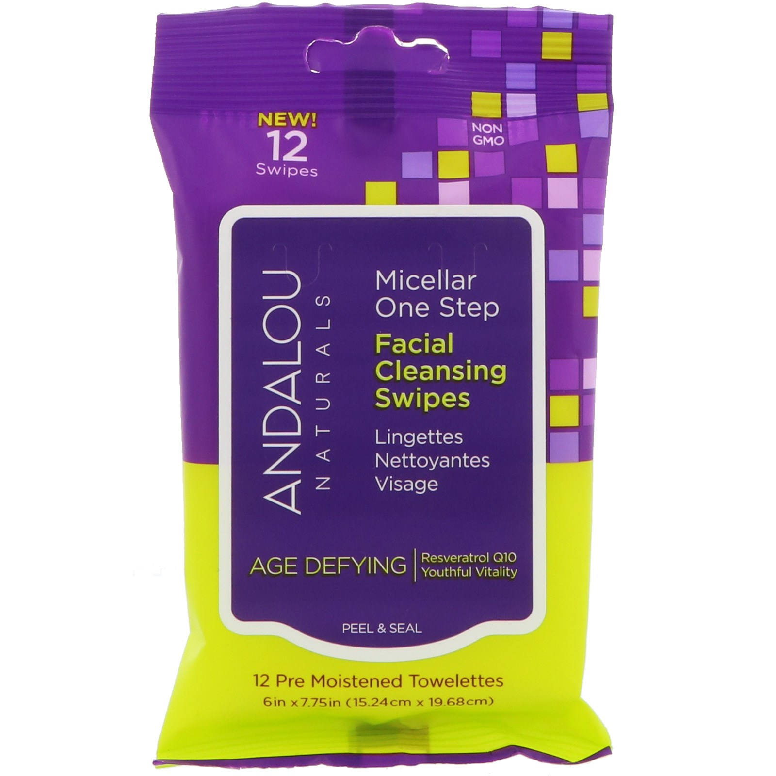 Andalou Naturals, Антивозрастное средство, мицеллярные одноразовые чистящие салфетки для лица, 12 предварительно увлажненных салфеток