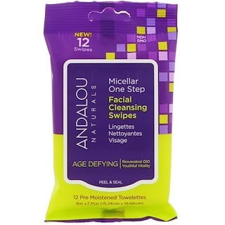 Andalou Naturals, Age Defying, Micellar One Step Facial Cleansing Swipes, 12 Pre Moistened Towelettes