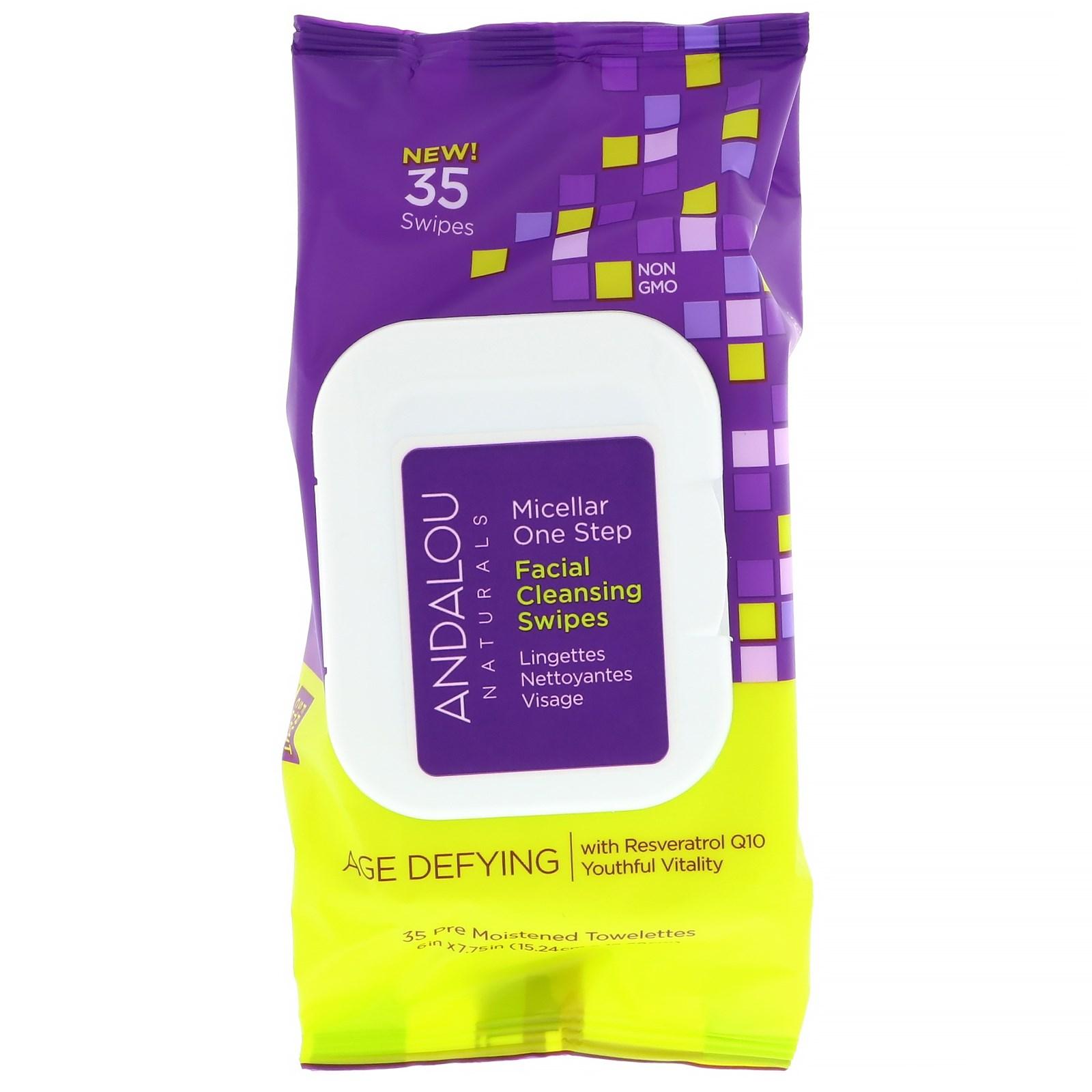 Andalou Naturals, Антивозрастное средство, мицеллярные одноразовые чистящие салфетки для лица, 35 предварительно увлажненных салфеток