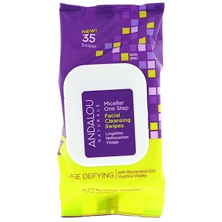 Andalou Naturals, Age Defying, Micellar One Step Facial Cleansing Swipes, 35 Pre Moistened Towelettes