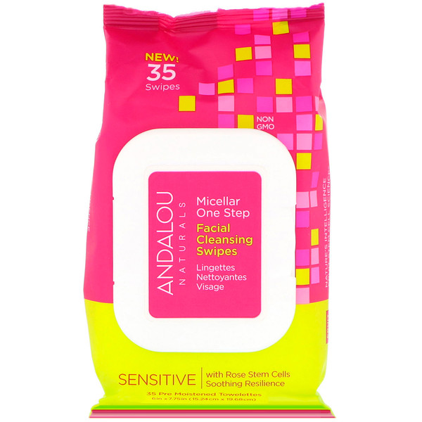 Andalou Naturals, Sensitive, Micellar One Step Facial Cleansing Swipes, 35 Pre Moistened Towelettes (Discontinued Item)