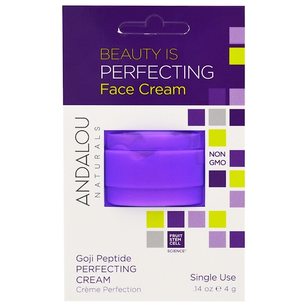 Andalou Naturals, Perfecting Cream, Goji Peptide, Single Use, .14 oz (4 g) (Discontinued Item)