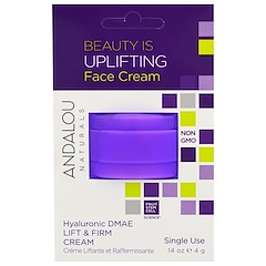Andalou Naturals, Lift & Firm Cream, Hyaluronic DMAE, Single Use, .14 oz (4 g)