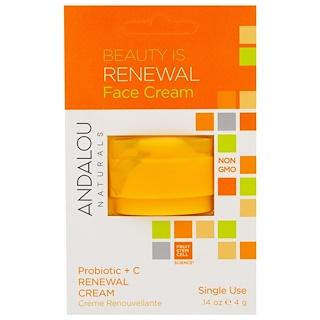 Andalou Naturals, Renewal Cream, Probiotic + C, Single Use, .14 oz (4 g)