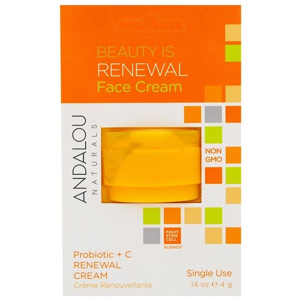 Andalou Naturals, Обновляющий крем, пробиотик + витамин C, на одно применение, 0,14 унции (4 г)