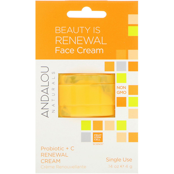 Andalou Naturals, Renewal Cream, Probiotic + C, Single Use, .14 oz (4 g) (Discontinued Item)
