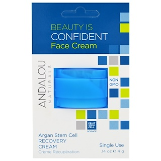 Andalou Naturals, Argan Stem Cell, Recovery Cream, Single Use, .14 oz (4 g)