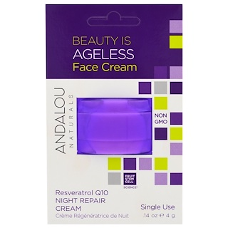 Andalou Naturals, Night Repair Cream, Resveratrol Q10, Single Use, .14 oz (4 g)