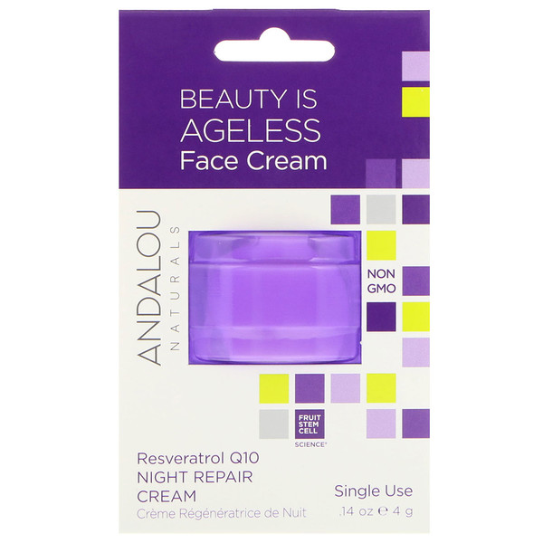Andalou Naturals, Night Repair Cream, Resveratrol Q10, Single Use, .14 oz (4 g) (Discontinued Item)