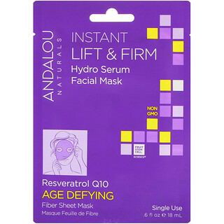 Andalou Naturals, Instant Lift & Firm, Hydro Serum Facial Mask, Age Defying、使い捨てのファイバーシートマスク、.6 fl oz (18 ml)